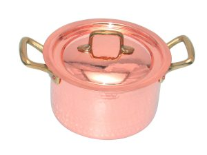 22 cm Copper saucepan with two handles